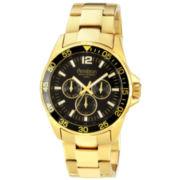 Armitron® Mens Black-Dial Gold-Tone Dress Watch