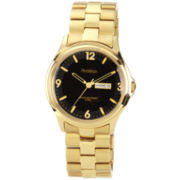 Armitron® Mens Black-Dial Gold-Tone Dress Watch