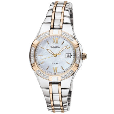 jcpenney.com | Seiko® Womens Two-Tone Diamond-Accent Solar Watch SUT068
