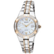 Seiko® Womens Two-Tone Diamond-Accent Solar Watch