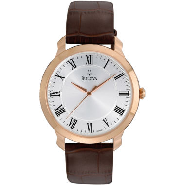 jcpenney.com | Bulova® Mens Brown Leather Strap Watch