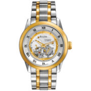 Bulova Mens Two-Tone Automatic Skeleton-Dial Watch
