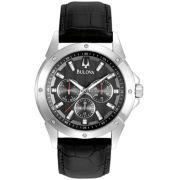 Bulova Mens Black Leather Multifunction Watch