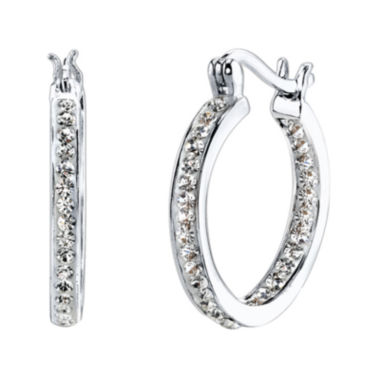 jcpenney.com | Crystal Sophistication™ Pure Silver-Plated Crystal-Accent Hoop Earrings