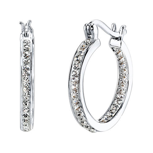 Crystal Sophistication™ Pure Silver-Plated Crystal-Accent Hoop Earrings