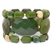 Olive Green Faceted 3-pc. Stretch Bracelet Set