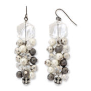 Mixed Metal & Crystal Cluster Dangle Earrings