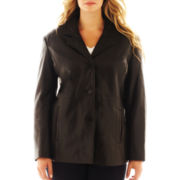 Excelled Leather Button-Front Jacket - Plus