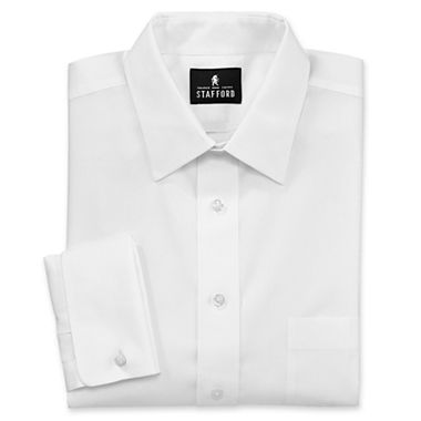 Stafford signature no iron cotton french cuff dress shirt for Stafford dress shirts fitted