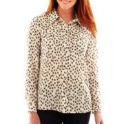 Liz Claiborne Long-Sleeve Campshirt - Talls