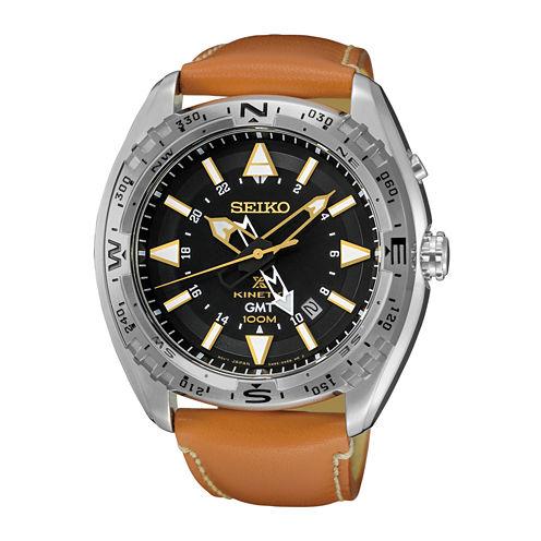 Seiko Mens Brown Strap Watch-Sun055