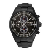 Seiko® Mens Black Titanium Solar Chronograph Watch SSC393