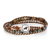 Footnotes Too® Genuine Jasper Bead Silver-Plated Leather Bracelet