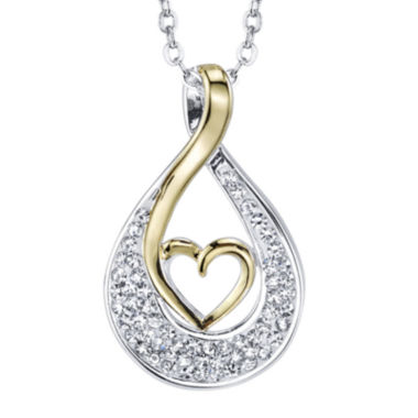 jcpenney.com | Crystal Sophistication™ Silver-Plated Two-Tone Heart Pendant Necklace