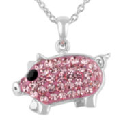 Crystal Sophistication™ Pink and Black Crystal Silver-Plated Pig Pendant Necklace