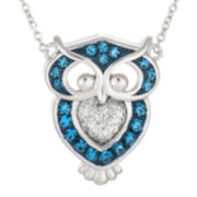 Crystal Sophistication™ Blue and Silver Crystal Silver-Plated Owl Pendant Necklace
