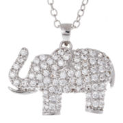 Crystal Sophistication™ Crystal Silver-Plated Elephant Pendant Necklace