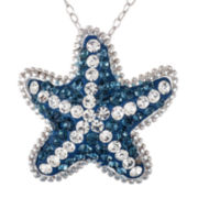 Crystal Sophistication™ Blue and White Crystal Silver-Plated Starfish Pendant Necklace