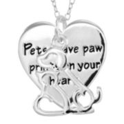 Dazzling Designs™ Pure Silver-Plated Pet and Heart Pendant Necklace
