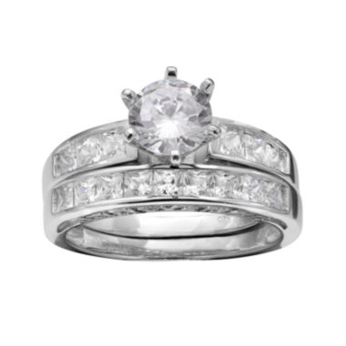 jcpenney.com | Silver Enchantment™ Cubic Zirconia Sterling Silver Bridal Ring Set