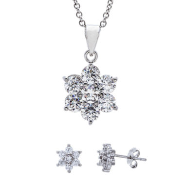 jcpenney.com | Sparkle Allure™ Cubic Zirconia Silver-Plated Flower Earring and Pendant Necklace Set
