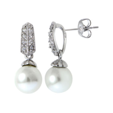 jcpenney.com | Silver Reflections™ Cubic Zirconia and Simulated Pearl Silver-Plated Drop Earrings