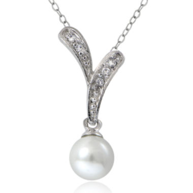 jcpenney.com | Cubic Zirconia and Simulated Pearl Silver-Plated Drop Pendant Necklace