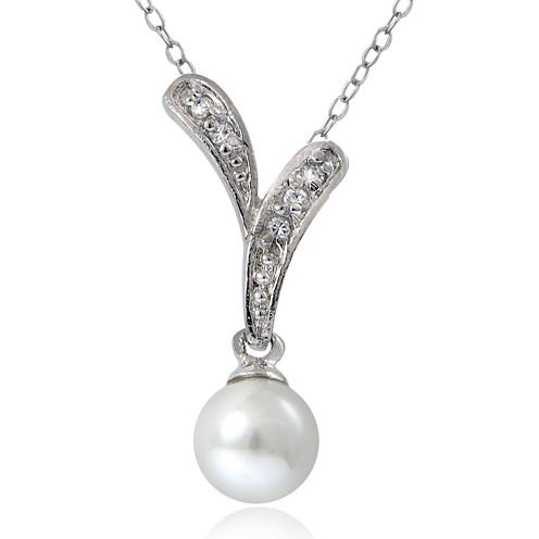 Cubic Zirconia and Simulated Pearl Silver-Plated Drop Pendant Necklace