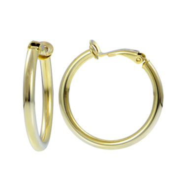 jcpenney.com | 14K Yellow Gold Over Sterling Silver 25mm Hoop Clip-On Earrings