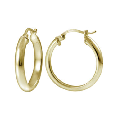 jcpenney.com | 14K Yellow Gold Over Sterling Silver Half-Round 20mm Hoop Earrings