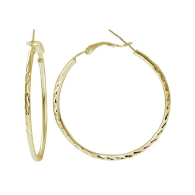 jcpenney.com | 14K Yellow Gold Over Sterling Silver Patterned 50mm Hoop Earrings