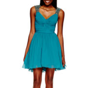 City Triangles® Sleeveless Embellished-Shoulder Short Party Dress