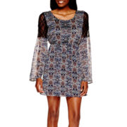 Speechless® Bell-Sleeve Print Babydoll Dress