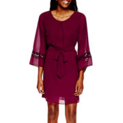 By & By Bell-Sleeve Crochet-Inset Dress