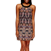 by&by Sleeveless Keyhole Print Shift Dress