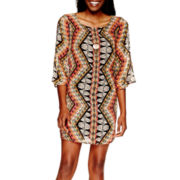 Love Reigns 3/4-Sleeve Print Shift Necklace Dress