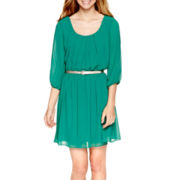 by&by Elbow-Sleeve Belted Dress