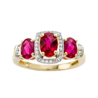 jcpenney.com | Lab-Created Ruby and White Sapphire 14K Yellow Gold Over Sterling Silver 3-Stone Ring