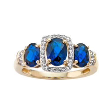 jcpenney.com | Lab-Created Blue and White Sapphire 14K Yellow Gold Over Sterling Silver 3-Stone Ring