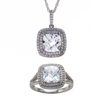 jcpenney.com | Lab-Created White Sapphire Sterling Silver Frame Pendant Necklace and Ring Set