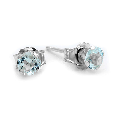 Genuine 4mm Aquamarine 10K White Gold Stud Earrings