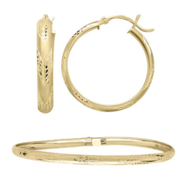 jcpenney.com | 10K Yellow Gold Flex Bangle and 25mm Hoop Earrings Set