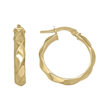 jcpenney.com | 14K Yellow Gold 21.55mm Ridged Hoop Earrings