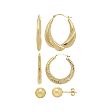 jcpenney.com | 10K Yellow Gold 3-pr. Earring Set