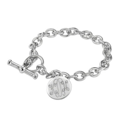 jcpenney.com | Personalized Sterling Silver Round Monogram Charm Bracelet