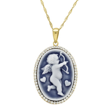 jcpenney.com | 14K Gold Over Sterling Silver Oval Cupid Cameo Pendant Necklace