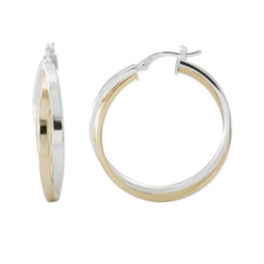 jcpenney.com | Two-Tone Sterling Silver 31.67mm Crossover Hoop Earrings