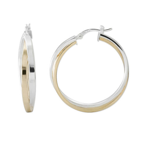 Two-Tone Sterling Silver 31.67mm Crossover Hoop Earrings