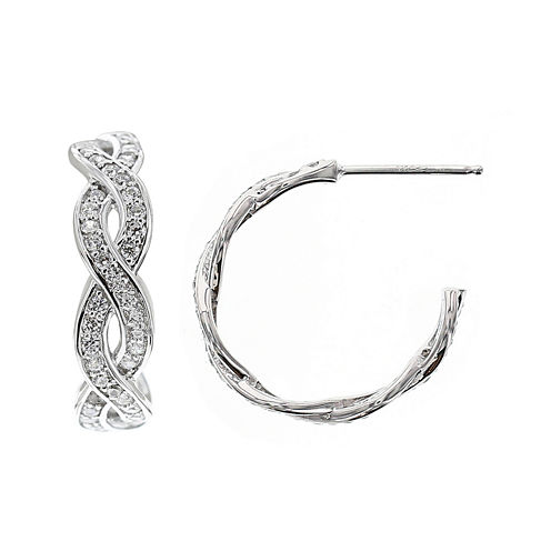 DiamonArt® Cubic Zirconia Sterling Silver 21.5mm Infinity Hoop Earrings
