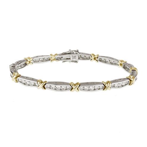 DiamonArt® Cubic Zirconia Two-Tone Sterling Silver X Tennis Bracelet